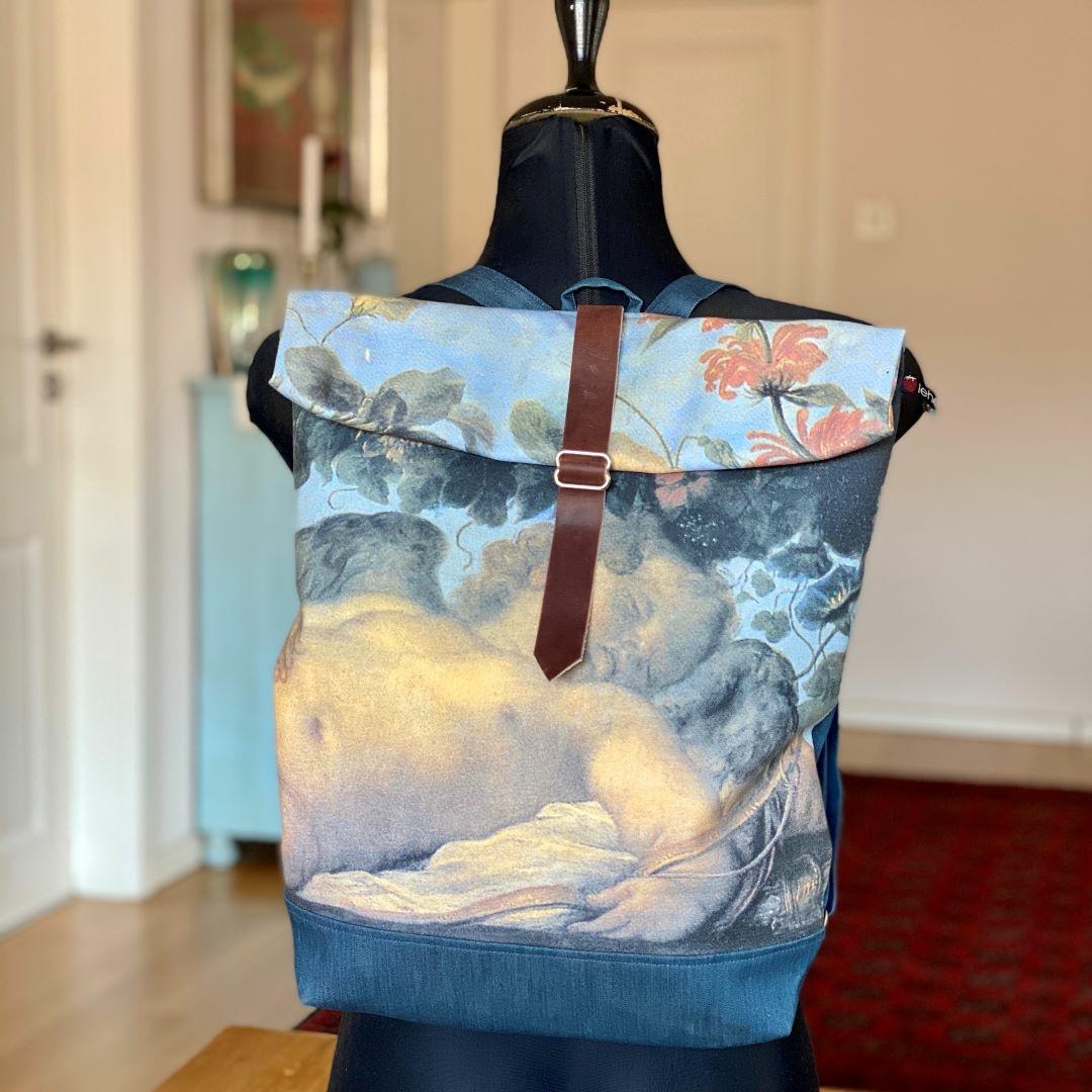 Bőrös hátizsák festménnyel 1